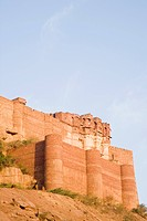 Low angle view of a fort, Meherangarh Fort, Jodhpur, Rajasthan, India