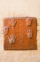 Close_up of handprints, Meherangarh Fort, Jodhpur, Rajasthan, India