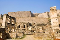 Low angle view of a fort, Golconda Fort, Hyderabad, Andhra Pradesh, India