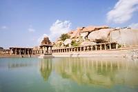 Ruins of a bazaar, Krishna Bazaar, Hampi, Karnataka, India
