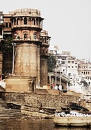 Buildings at the riverbank, Ganges River, Varanasi, Uttar Pradesh, India