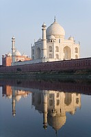 Reflection of a mausoleum in a river, Taj Mahal, Yamuna River, Agra, Uttar Pradesh, India