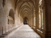 14th century Gothic cloister with carvings attributed in part to the master mason Reinard de Fonoll, Cistercian monastery of Santes Creus. Aiguamurcia...