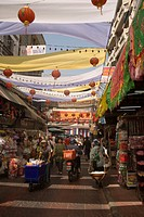 View inside a shopping street of Chinatown, Bangkok´s oldest residentail and business district, Bangkok, Thailand