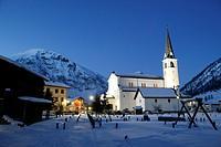 Saint Marys Church, Church Santa Maria, Mont dal Bon Curat in the background, Livigno, Italy