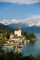 Castle Oberhofen at Lake Thun, Eiger 3970 m, Moench 4107 m and Jungfrau 4158 m in background, Oberhofen, Bernese Oberland highlands, Canton of Bern, S...