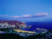 Marina and beach, Puerto Rico, bathing resort, Gran Canaria, Canary Islands, Atlantic Ocean, Spain