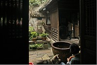 View at the courtyard of a traditional residential house, Hongcun, Huang Shan, China, Asia