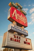 Illuminated advertising of Drive_In Restaurant in St. Cloud, Florida, USA