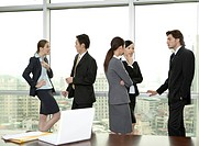 Business people standing and discussing in the office together
