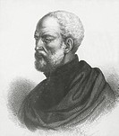 Portrait of Giovan Battista Ramusio (Treviso, 1485 - Padua, 1557), Italian humanist, geographer and historian. Engraving.