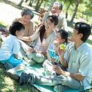 Three generation family, having picnic