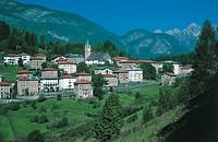 Buildings in a town, Vigo di Cadore, Veneto Region, Italy