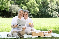 Senior couple having a picnic outdoors