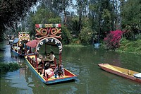 High angle view of a tour boat floating on water, Xochimilco Gardens, Mexico City, Mexico