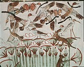 Egypt, Ancient Thebes, Shaykh ´Abd al_Qurnah, mural of marshland fowl and cats at Tomb of Menna