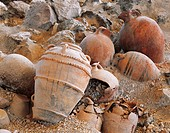 High angle view of damaged amphoras, Akrotiri of Thera, Akrotiri, Santorini, Cyclades Islands, Southern Aegean, Greece