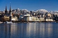 General view of the town of Lucerne Luzern in the Canton of Lucerne, Switzerland with the Reuss River in the foreground and the Hofkirche church in th...