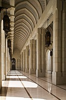 Architectural detail of the collonade adjacent to the female prayer hall of the Sultan Qaboos Grand Mosque, Ghubrah, Muscat, Oman