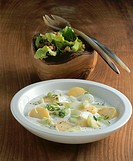 Potatoes & cucumber in cultured milk with warm endive salad