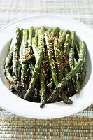 Grilled Asparagus with Sesame Seeds in Serving Dish