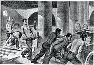 Manufacture of iron in the Couillet factory, 1886, engraving. Belgium, 19th century.