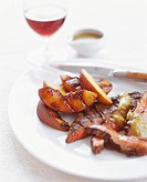 Sliced Grilled Steak with Grilled Peaches