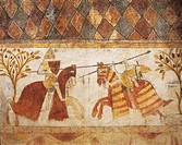 Duel between a French knight and Manfred, son of Emperor Frederick II, for the conquest of the Kingdom of Sicily, fresco from Ferrande Tour, in Pernes...