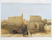 Egypt - 19th century. Temple at Luxor. Engraving by David Roberts