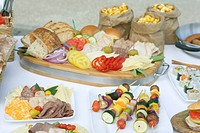 Party Spread with Sandwich Fixings, Kabobs and Snacks