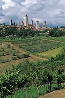 Italy - Tuscany Region - San Gimignano (Siena province). UNESCO World Heritage List, 1990. Medieval towers