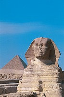 Egypt - Cairo - Ancient Memphis (UNESCO World Heritage List, 1979). Great Sphinx and pyramid of Menkaure (greek: Mykerinus) at Giza