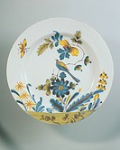 Ceramics - 18th century. England, Bristol porcelain. Plate with Oriental décor, 1770