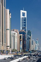 United Arabic emirates, Dubai, high_rises, Sheikh Zayed Road, street scenery, series, sheikdom, city, capital, office_high_rises, office buildings, ar...