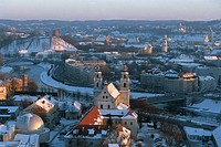 Lithuania - Vilnius. Old Town. (UNESCO World Heritage List, 1994). Snow cityscape