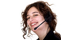 Customer service operator with a big smile