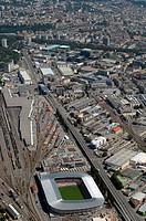 Switzerland, Lancy, city_overview, Stade de geneve, aerial_shot, city, sport_stadium, stadium, buildings, construction, architecture, sight, sporting ...