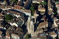 Switzerland, Zurich, big_minster, aerial_shot, city, capital, city, overview, sight, landmark, minsters, church, Lord´s house, sacral_construction, be...