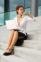 Company_buildings, businesswoman, stairway, sitting, Notebook, gaze, watch, series, people, woman, break, lunch hour, outside_stairway, stairway_ascen...