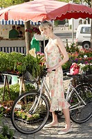 Week_market, woman, bicycle, basket, detail, buys series, people, customer, blond, summer_dress, wheel, purchase_basket, vegetables, herbs, chooses, s...