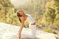 Woman, Yoga, practice, clothing white, outside, morning_mood, full_length