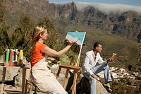 Woman, paints, easel, sitting, man, book, semi_portrait, reads panorama