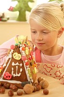 advent, girl, gingerbread_house, handicrafts, happy,