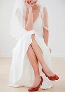 Bride wearing red high heels
