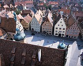 Germany, Bavaria, Rothenburg ob der Tauber, old town, franconia, middle Franconia, city, city_overview, market place, houses, residences, buildings, p...