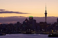 New Zealand, north_island, Auckland, city view, Sky tower, evening_mood, city, city, port, harbor, freight_harbor, houses, buildings, constructions, h...