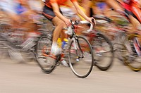 Cyclists, cycle racings, road races, fuzziness, detail,