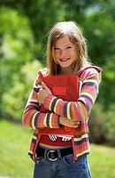 girl, notebooks, outside, semi_portrait,