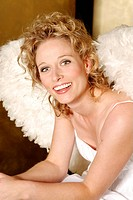 Woman, young, blond, angel wings, smiling, happy, beaming, sitting, semi_portrait, christmas, people, christmas_angels, angels, angel_outfit, outfit, ...