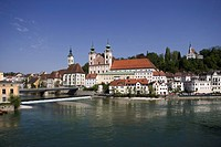 Austria, Upper_Austria, Steyr, city view, Bürgerspital_church, Michaeler_church, rivers, Steyr, Enns, confluence, city, district, sight, buildings, co...